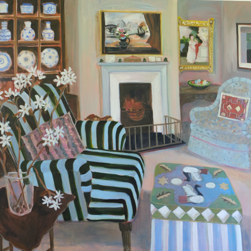 Lottie Cole - Interior with Christopher Wood, Striped Chair and Amelanchier Blossom (London Gallery)