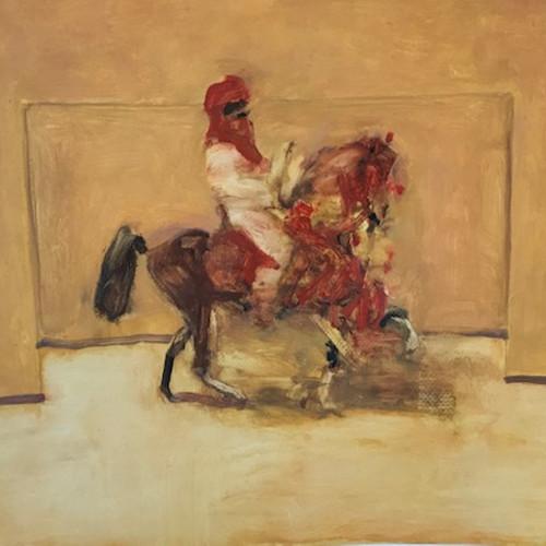 Antoine de La Boulaye - Orientalist Horseman in Red (Hungerford Gallery)