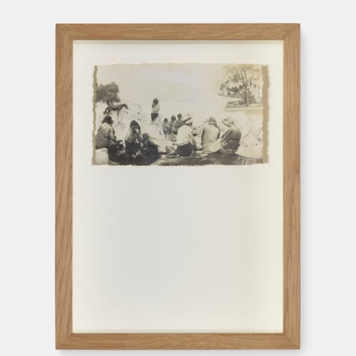 Fiona Ones  Picnic Australia - 42 , 2018  archive photograph with needle drawing  5.5 x 10 cm  Series: Just Like You, But Different