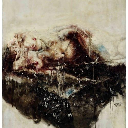 Zhou Chunya 周春芽, 躺著的人體-黑色的石頭 A Lying Woman, Black Stone