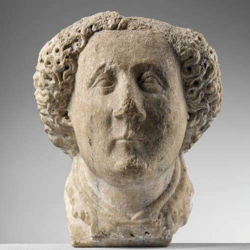Pupil of Jacopino da Tradate, Corbel depicting the head of a young man, 1410-20 circa