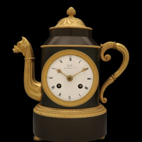 Very rare pendulum clock in patinated and gilded bronze in the shape of a teapot designed by Claude Galle, France