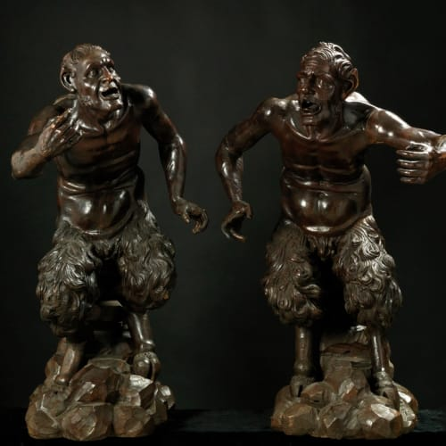 Giacomo Piazzetta, Pair of torch-holding satyrs, 17th Century