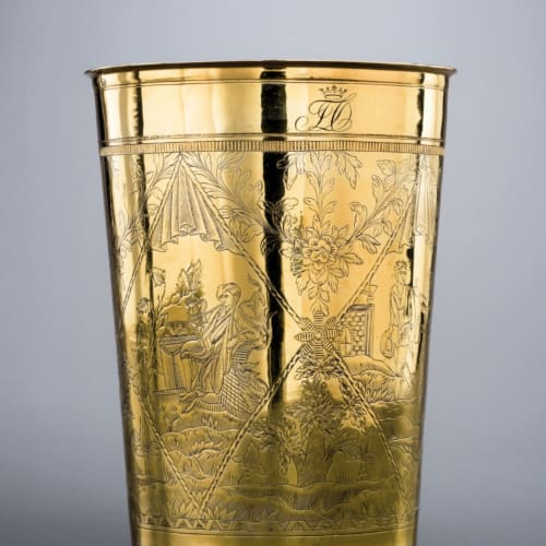 Johann Drentwett, A large gold cylinder glass, with re-engravings made in Russia circa 1780, Augsbourg, Germania, verso il 1700