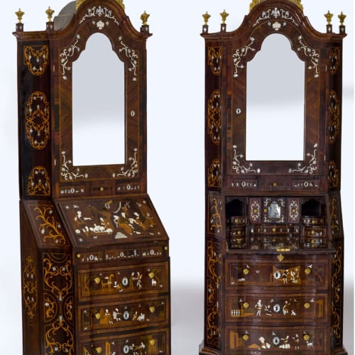 Giovanni Clavella, Pair of inlaid bureau cabinets, Palermo, first half of the 18th century