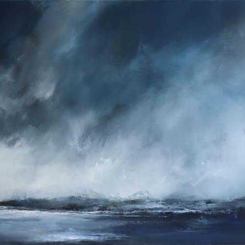 "Still day, Shetland  Janette Kerr  oil on canvas  80cm x 100cm (31.5"" x 39.4"")"