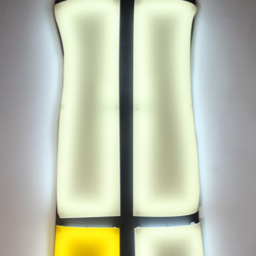 Nicolas Saint Grégoire  Mondrian Dress 2, 2009  Wall mounted light sculpture using Murano crystal cold cathode tube lighting and Perspex  160 x 59.7 cm 63 x 23 1/2 in.  Edition 3 of 7