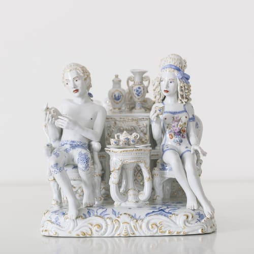 Chris Antemann  A Strong Passion, 2014  Meissen Porcelain  28 x 26 x 23 cm 11 1/8 x 10 1/4 x 9 1/8 in.  Edition of 25 plus 2 artist's proofs