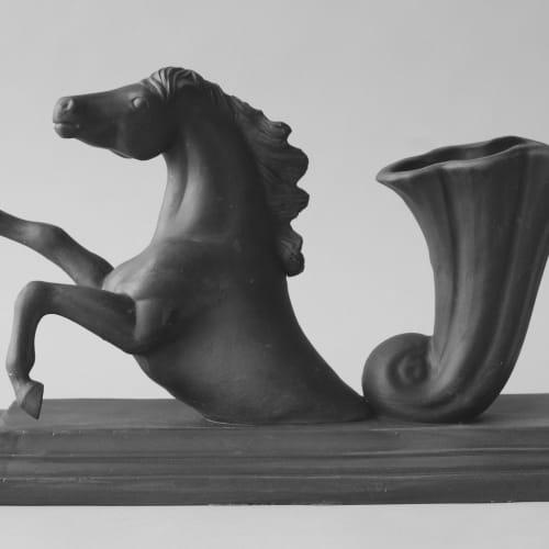 Matt Smith (British)  Horse, 2018  Black Parian  18 x 30 x 13 cm  7 1/8 x 11 3/4 x 5 1/8 in.
