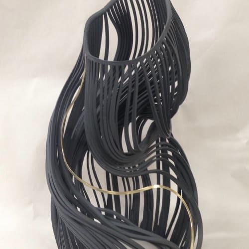 Lauren Nauman  Lines, 34 Black with brass, 2018  Porcelain and brass  34 x 18 x 19 cm  13 3/8 x 7 1/8 x 7 1/2 in.