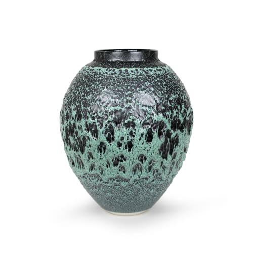 Albert Montserrat  Green Urani Vessel, 2020  Oil - Spot Glazed Thrown Porcelain  43 x 35 x 35 cm  16 7/8 x 13 3/4 x 13 3/4 in.