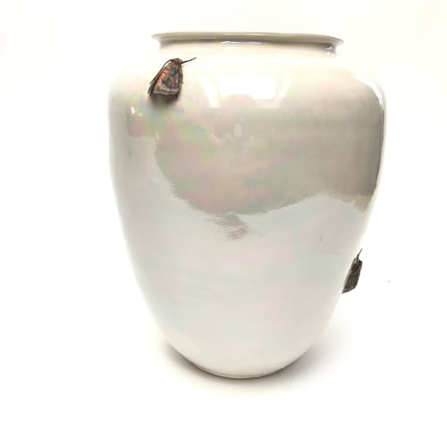 Mary O'Malley  Moth Vase, 2017  Thrown and hand built Porcelain, Glaze, Underglaze, Mother of Pearl Luster  25.4 x 17.8 x 17.8 cm  10 x 7 x 7 in.