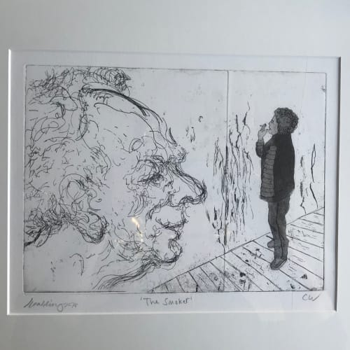 Colin Wiggins  Colin Wiggins & Maggi Hambling, The Smoker, 2018  Etching and Aquatint  Edition of 10