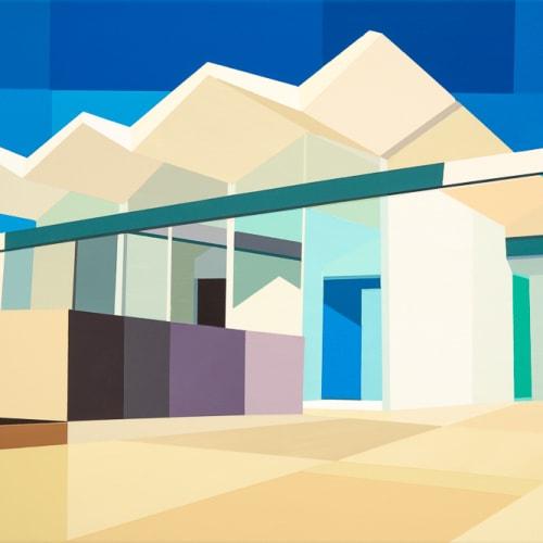 Andy Burgess  Wexler Steel House - Zig Zag Roof, 2017  Acrylic on Canvas  61 x 91.4 cm  24 x 36 in.