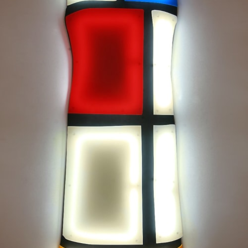 Nicolas Saint Grégoire  Mondrian Dress 1 Ivory, 2012  Wall mounted light sculpture using Murano crystal cold cathode tube lighting and Perspex  160 x 60 x 12.7 cm  63 x 23 5/8 x 5 in.  Edition of 7