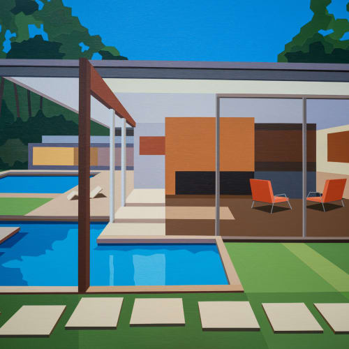 Andy Burgess  Singleton House III, 2018  Acrylic on canvas over panel  114.3 x 152.4 cm  45 x 60 in.