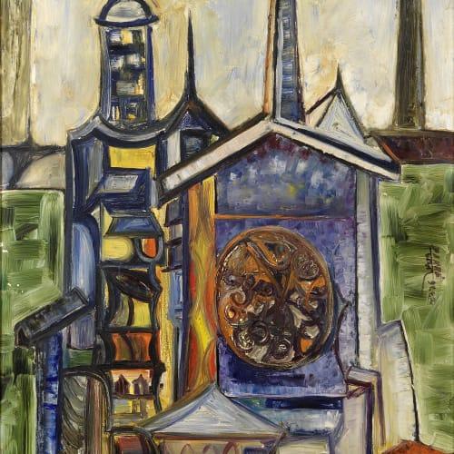 Sadanand K. Bakre, Untitled (Landscape with Cathedral Spire), 1965