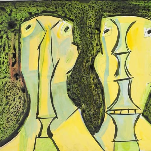 Francis Newton Souza, Two Heads, c.1958