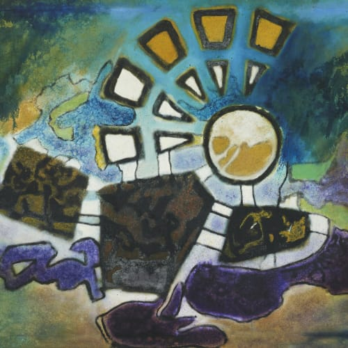 Aubrey Williams, Moon Time I (Olmec Maya and Now Series), 1984