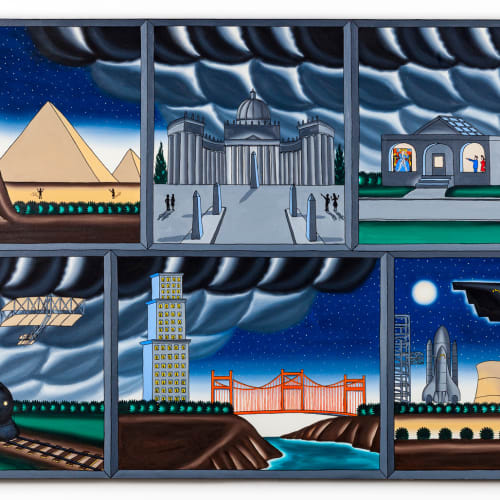 """<span class=""""artist""""><strong>Roger Brown</strong></span>, <span class=""""title""""><em>Past and Future Art</em>, 1989</span>"""