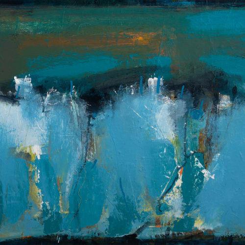 Robert McAulay  Blue Landsacpe II  acrylic on gesso panel  44.5cm x 60cm