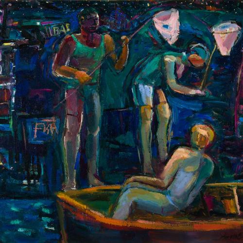 Annette Edgar  Fisher Boys  oil on linen  71cm x 81cm
