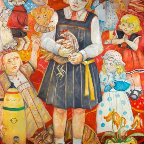 "Joyce W Cairns  Tiny Tots  oil on panel  192cm x 123 cm  76"" x 48"""