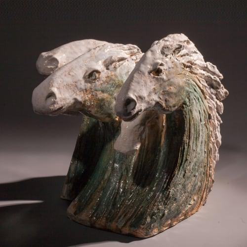 Illona Morrice  White Horses  ceramic  21cm x 36cm x 26cm