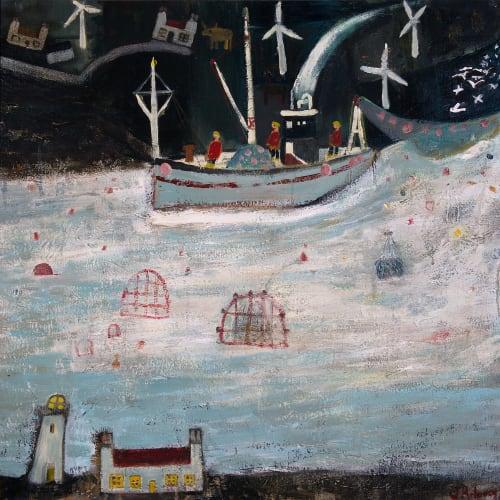 James Newton Adams  Three Men in a Boat  acrylic on canvas  76cm x 76cm