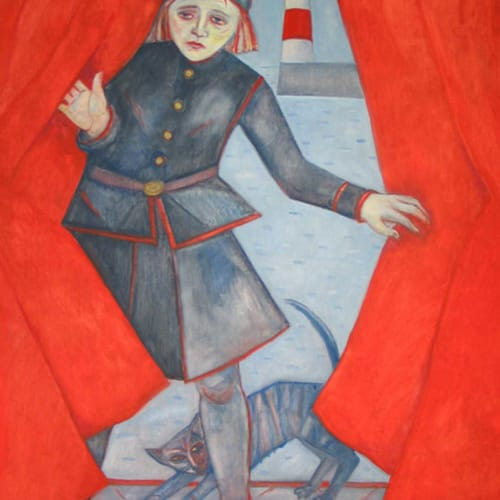 Joyce W Cairns  Through the Red Curtain  oil on panel  122cm x 92cm  48 x 36 in