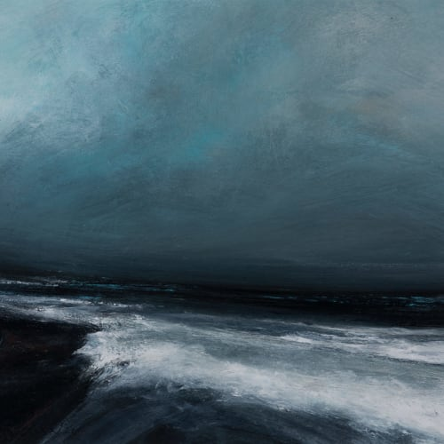 Ruth Brownlee  North Easterly Gales off Toswick  mixed media  35cm x 39cm