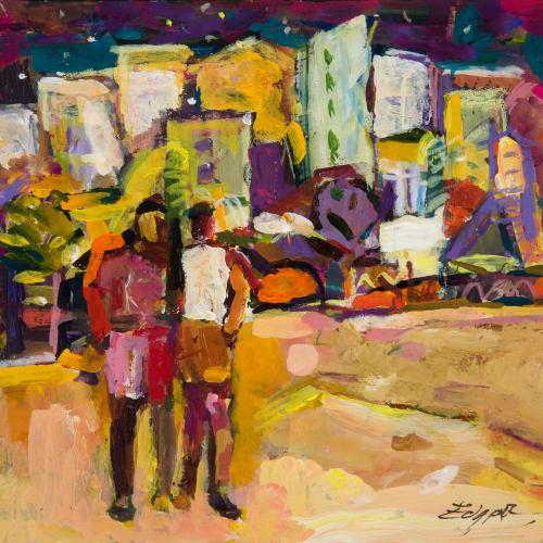 Annette Edgar  Boys in Town  gouache  20.5cm x 22cm