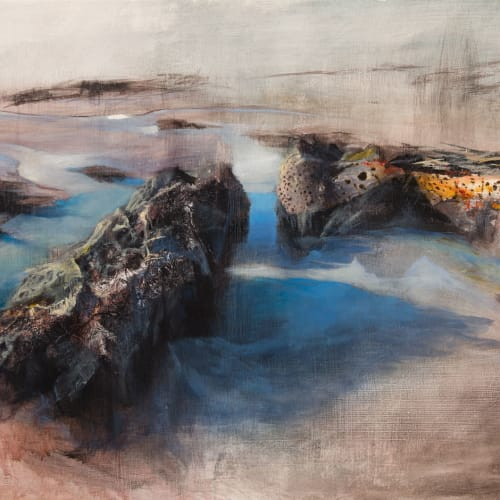Beth Robertson Fiddes  Island Shore, 2019  mixed media  76cm x 107cm  30 x 42 in