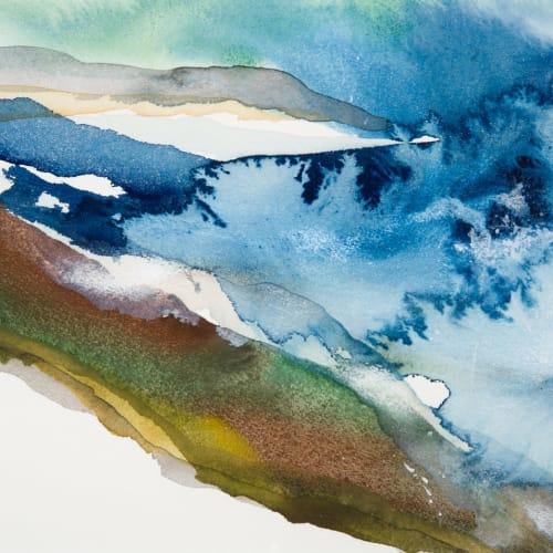 Peter Davis  Storm on Westside  watercolour on paper  23cm x 31cm  (43.5cm x 53.5cm framed)
