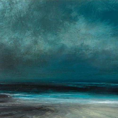 Ruth Brownlee  Evening Twilight on Quendale Beach  mixed media  39cm x 47cm