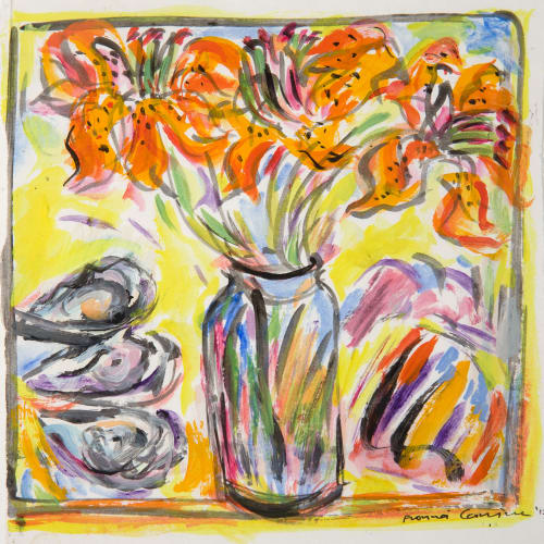 Fionna Carlisle  Tiger Lilies and Oysters  acrylic on paper  14cm x 14cm