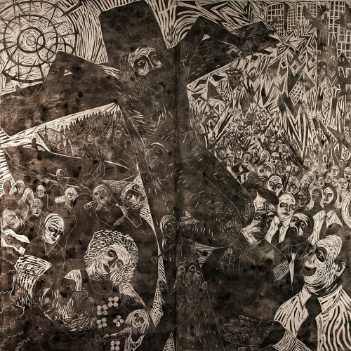 Paul Bloomer  9/11 Crucifixion, 2001-2013  woodcut on canvas  240cm x 240cm
