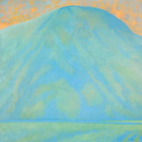 Jane MacNeill  Hill with Orange Sky  oil on board  75cm x 75cm