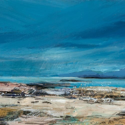 Sarah Carrington  Heavy Coulds over Rum from Portuairk  mixed media and gold leaf  24cm x 59cm
