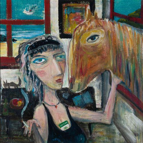 James Newton Adams  Rosemary and Saul  acrylic on canvas  51cm x 51cm