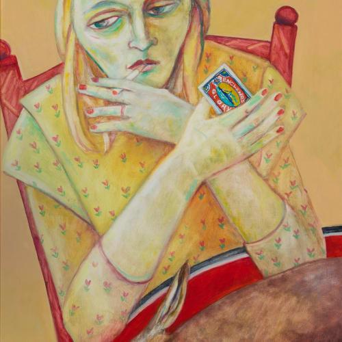 Joyce W Cairns  Plat du Jour  oil on panel  90 x 53 cm  35 3/8 x 20 7/8 in