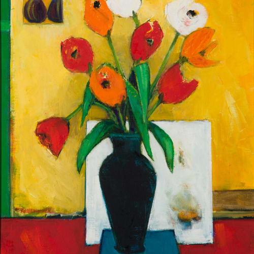"<span class=""artist""><strong>Liz Knox</strong></span>, <span class=""title""><em>Tulips</em>, 2019</span>"