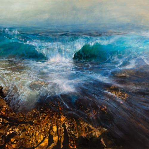 Beth Robertson Fiddes  Big Wave over Rocks, 2019  mixed media  122cm x 152cm  48 x 60 in