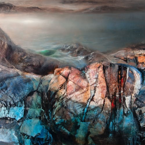 Beth Robertson Fiddes  Over the Rocks Clashnessie  mixed media  92cm x 122cm