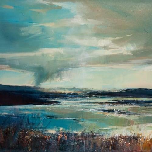 Sarah Carrington  Rain Clouds, Atlantic Drive  oil on canvas with gold leaf  76cm x 186cm