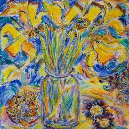 Fionna Carlisle  Daffodils  acrylic  34cm x 33cm