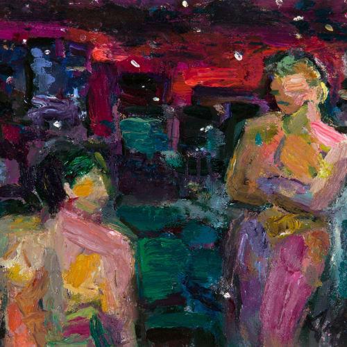 Annette Edgar  Rooftop Lovers  oil on linen  21cm x 22.5cm