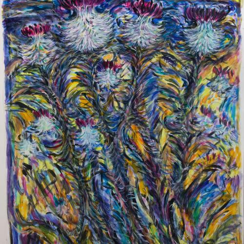 Fionna Carlisle  Caithness Thistles  acrylic on paper  147cm x 115cm