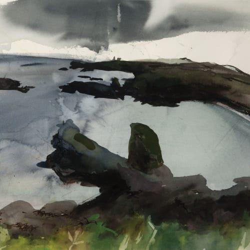 Kate Downie RSA  Catterline Bay  watercolour  56cm x 76cm