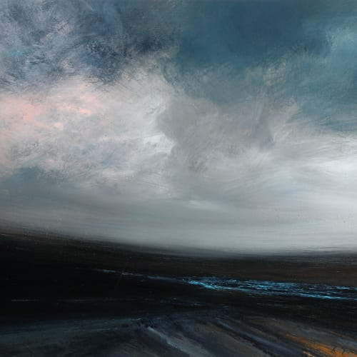 Ruth Brownlee  Coarse Dusk Gale: Whale Firth, Yell  mixed media on board  38cm x 46cm